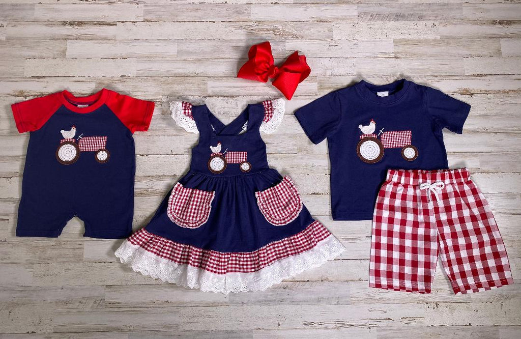 Navy Blue Tractor Applique Dress with red and white check - Sassy Little Sunflower