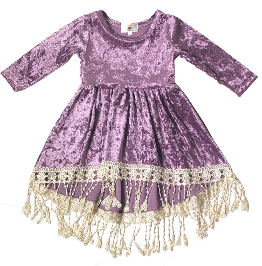 Lavender Velour Tassel Dress - Sassy Little Sunflower