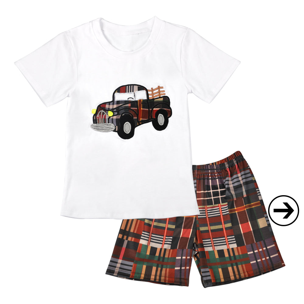 Boy Plaid Vintage Truck Applique Short Set - Sassy Little Sunflower