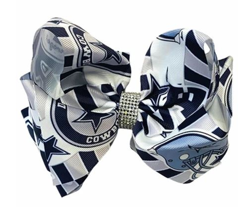 "White and navy Dallas Cowboys 6"" double stack bling bow"