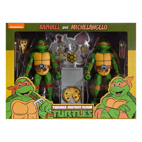 NECA Teenage Mutant Ninja Turtles Raphael and Michelangelo Target T-pack box package