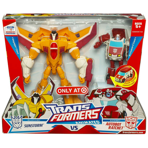 Transformers Animated Voyager Sunstorm vs Activator Ratchet Target Exclusive Box Package Front