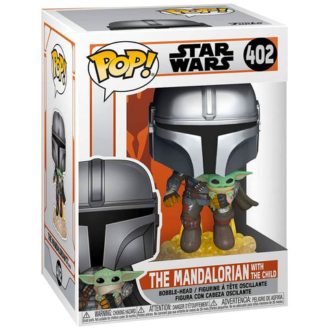 Funko Pop! 402 Star Wars The Mandalorian flying with the child box package render