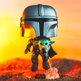 Funko Pop! 402 Star Wars The Mandalorian flying with The Child - Pop Vinyl
