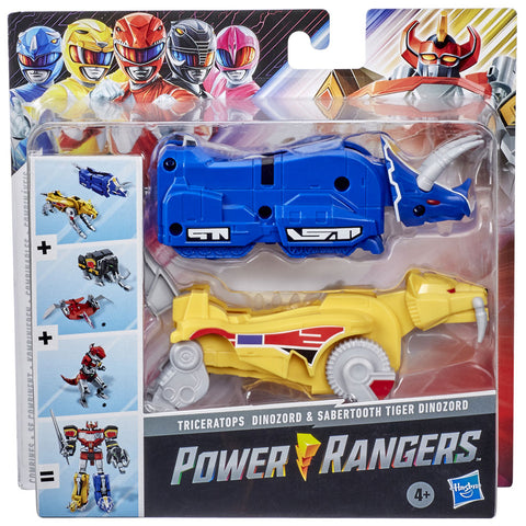 Hasbro Power Rangers Mighty Morphin Triceratops Sabertooth Tiger Dinozord Megazord combiner box package front