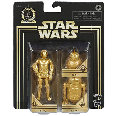 Hasbro Star Wars Skywalker Saga Commemorative Edition Gold Droids C-3PO R2-D2 BB-8 box package front