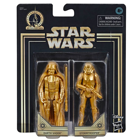 Hasbro Star Wars Skywalker Saga Commemorative Edition Gold Darth Vader & Stormtrooper Walmart Exclusive 2-pack box package front