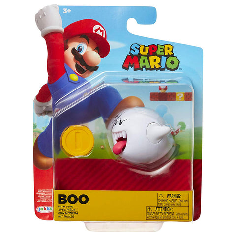 Jakks Pacific World of Nintendo Super Mario Bros. boo with coin 4-inch box package front