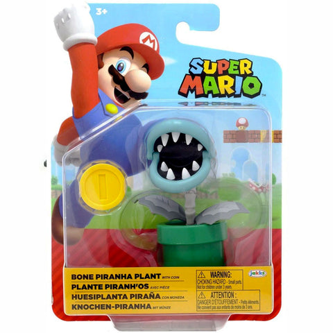 Jakks World of Nintendo Bone Pirahna Plant with coin box package front 4-inch