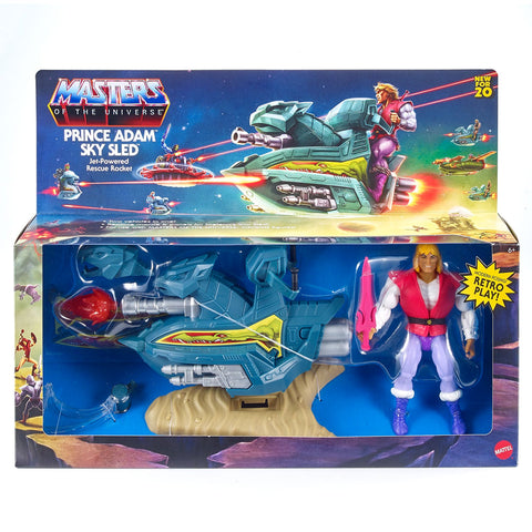 Mattle MOTU Masters of the Universe Origins Prince adam Sky Sled giftset box package front
