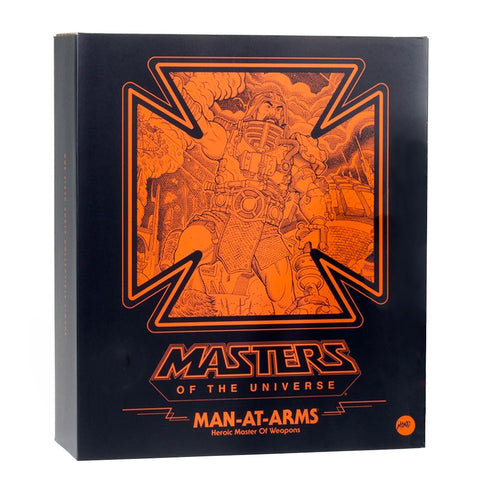 Mondo MOTU Masters of the Universe Man-at-arms regular heroic master of weapons box package front