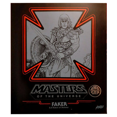 Mondo Masters of the Universe Exclusive Faker Battle Damage face box package front