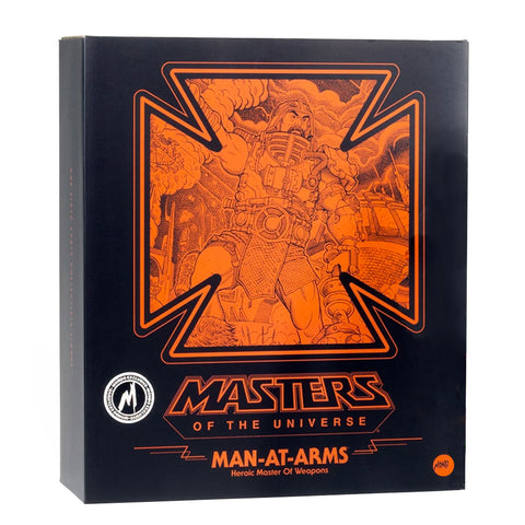 Mondo MOTU Masters of the Universe Man-at-arms exclusive heroic master of weapons box package front