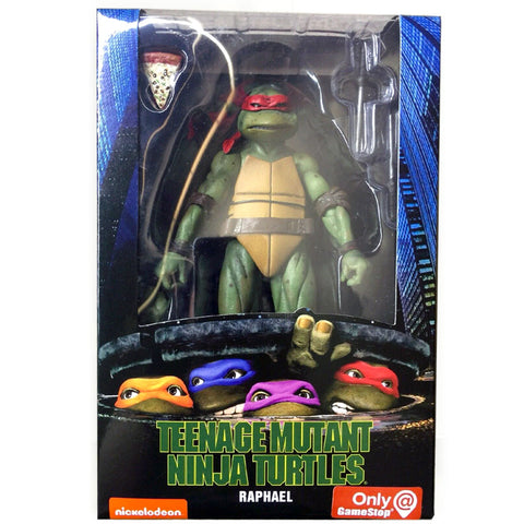 NECA Gamestop TMNT 90's Movie Teenage Mutant Ninja Turtle Raphael Action Figure Box Package