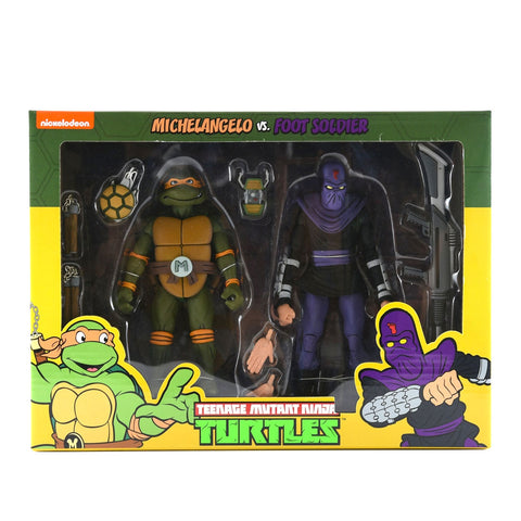 NECA TMNT Teenage Mutant Ninja Turtles Michelangelo vs. Foot Soldier two-pack Target exclusive Box Package Front