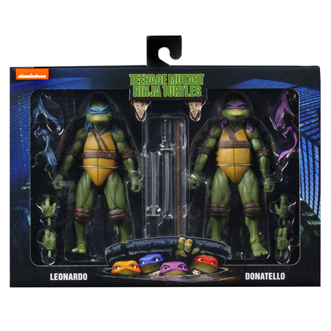 NECA TMNT Teenage Mutant Ninja Turtles 90s movie leonardo donatello 2-pack box package front