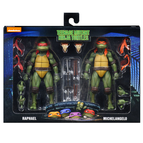 NECA TMNT Teenage Mutant Ninja Turtles Raphael Michelangelo 2pack walmart box package front