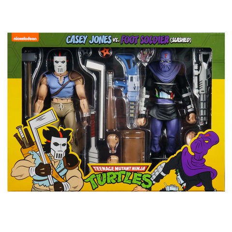 NECA TMNT Teenage Mutant Ninja Turtles Cartoon Casey Jones vs Foot Soldier Slashed 2-pack Box package front
