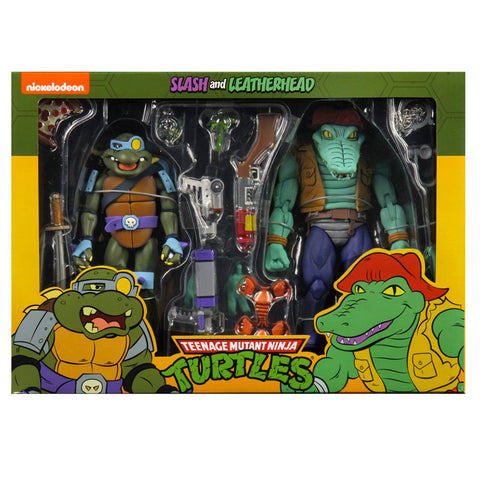 NECA TMNT teenage mutant ninja turtles cartoon slash and leatherhead 2pack box package front