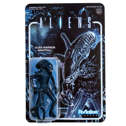 Super 7 Reaction Aliens ALien Warrior Nightfall Blue Box Package Front