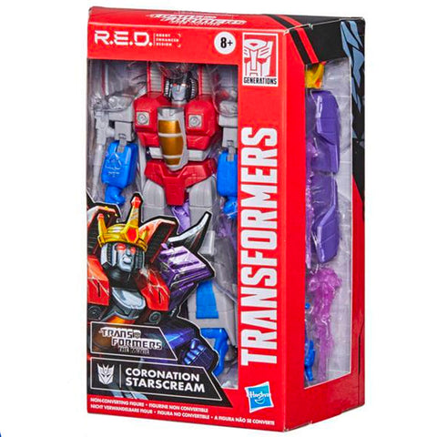 Transformers R.E.D. Series Robot Enhanced Design Coronation Starscream box package front angle
