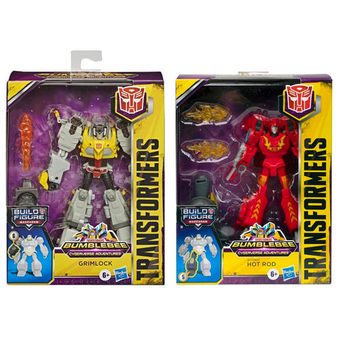 Transformers Cyberverse Adventures Deluxe Grimlock Hot Rod 2 Figure bundle box package