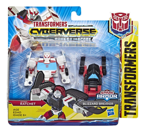 Transformers Cyberverse Power of the Spark Ratchet & Blizzard Breaker Battle Class Box Package