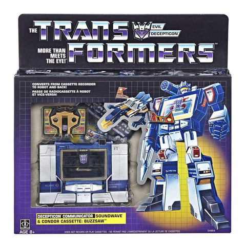 Transformers Vintage G1 Reissue Walmart Exclusive Soundwave and Condor cassette Buzzsaw Generation 1 box package