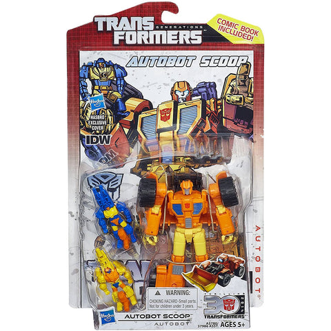 Transformers Generations Thrilling 30 Deluxe Autobot Scoop Caliburst Holepunch Box Package Front
