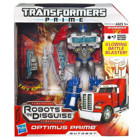 Transformers Prime Robots In Disguise Voyager 001 Optimus Glowing Battle Blaster Variant Box Package Front