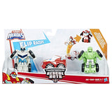Playskool Heroes Transformers Rescue Bots Flip Racers Griffin Rock Stunt Team Package Box