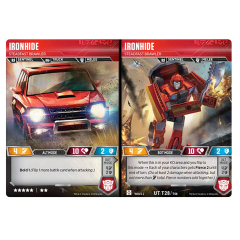 Transformers TCG Card Game Ironhide Steadfast Brawler Sentinel Combiner