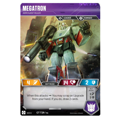 Transformers TCG Card Game Wave 2 Megatron Arrogant Ruler Front Robot