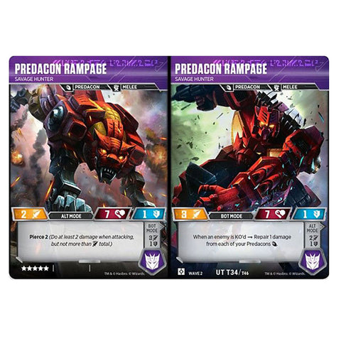 Transformers TCG Card Game Predacon Rampage Savage Hunter Combiner