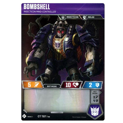 Transformers TCG Wave 1 T07 Bombshell Insecticon Mind-Controller Robot Front