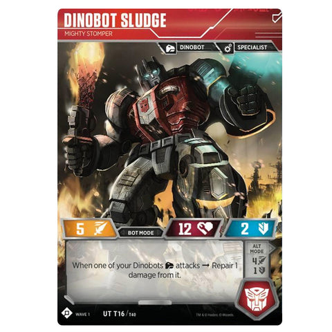 Transformers TCG Card Game Dinobot Sludge Mighty Stomper Robot Front