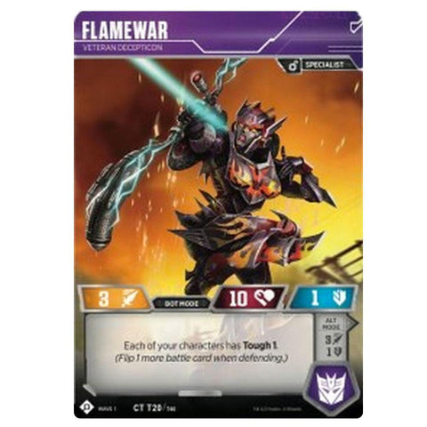 Transformers TCG Wave 1 T20 Flamewar Veteran Decepticon Character Card Front