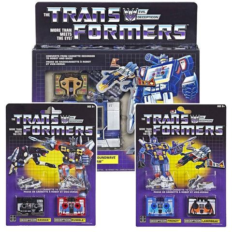 Transformers Walmart Vintage G1 Reissue Soundwave Buzzsaw Frenzy Rumble Ravage Laserbeak Bundle Package Box