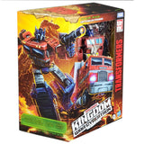 Transformers War for Cybertron Kingdom WFC-K11 Leader Optimus Prime box package front angle