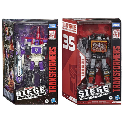 Transformers War for Cybertron Siege Voyager Apeface Soundblaster 2 figure bundle box package