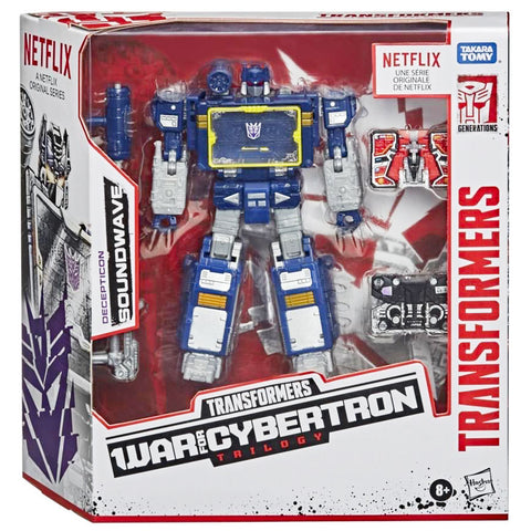 Transformers War for Cybertron Trilogy Netflix Walmart Voyager Earthrise Soundwave Box package front