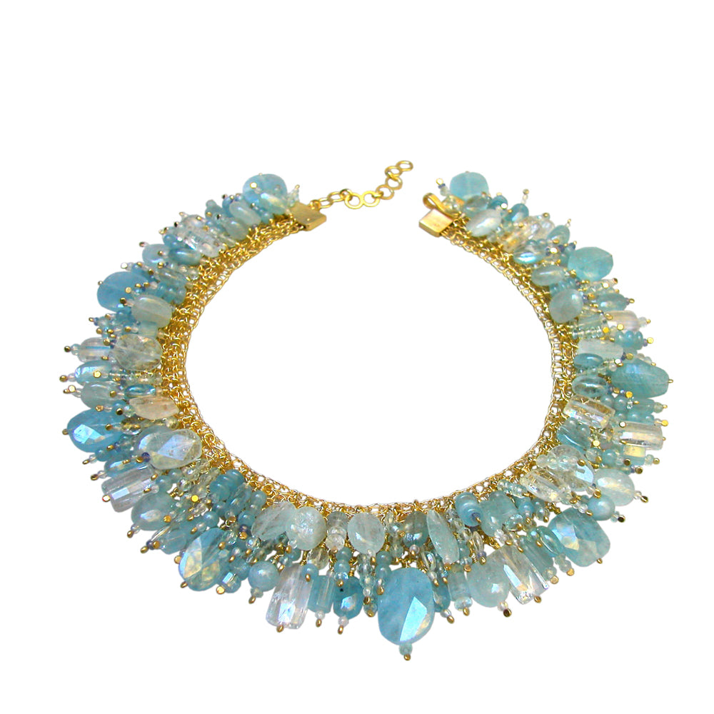 COLLIER DE CHIEN Silber925, goldplattiert - Aquamarin
