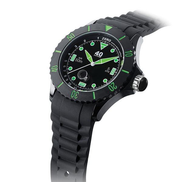 40Nine Extra-Large 50mm Black & Green Watch