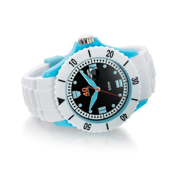 40Nine Extra Large 50mm White & Blue Watch