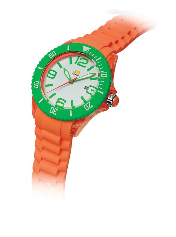 40Nine Large 45mm Orange & Green Watch
