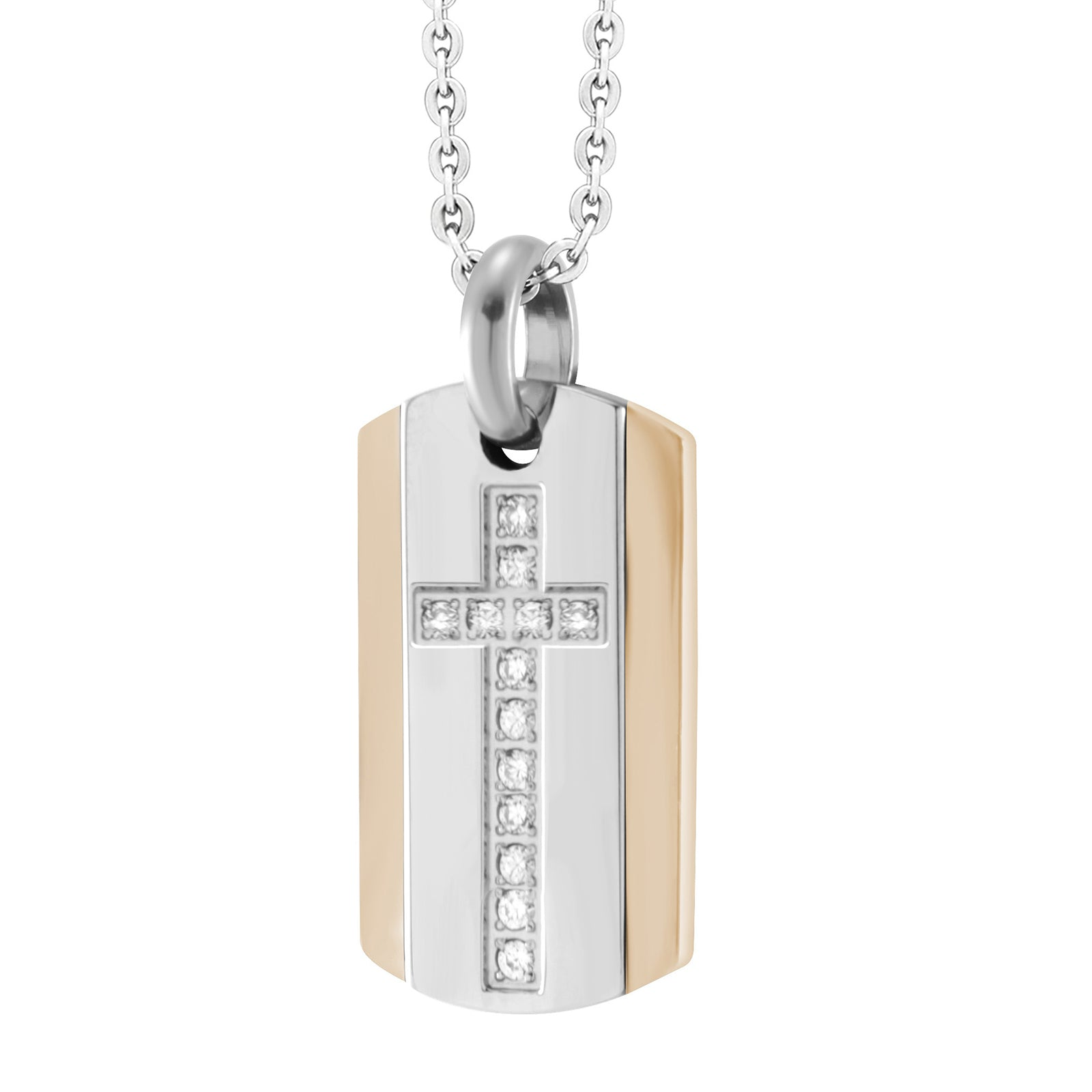 AZR-P032-C Stainless Steel Cross Dog Tag Pendant Necklace