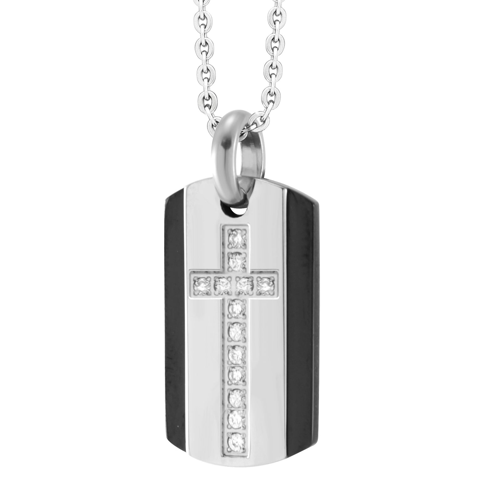 AZR-P032-D Stainless Steel Cross Dog Tag Pendant Necklace