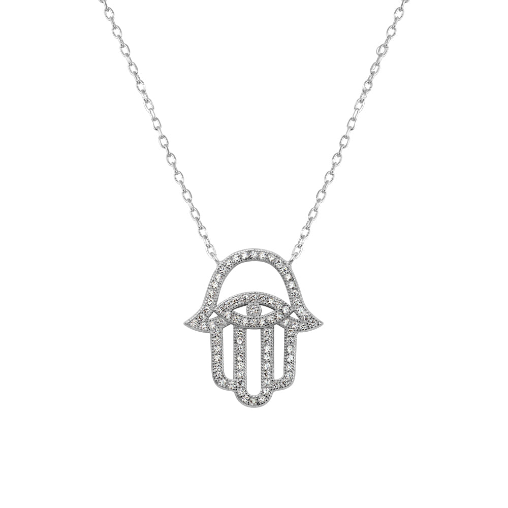 EVE-N50 Silver Hamsa Pendant Necklace