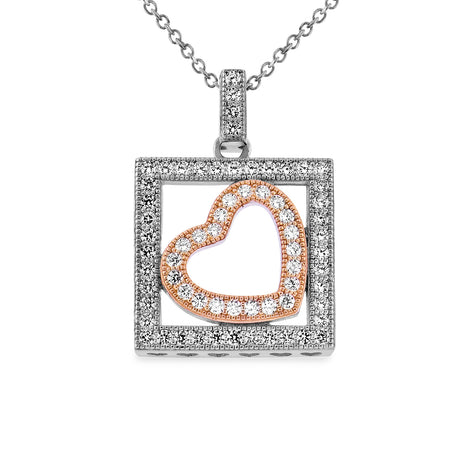 EWP110027PW Sterling Silver Heart Pendant Necklace