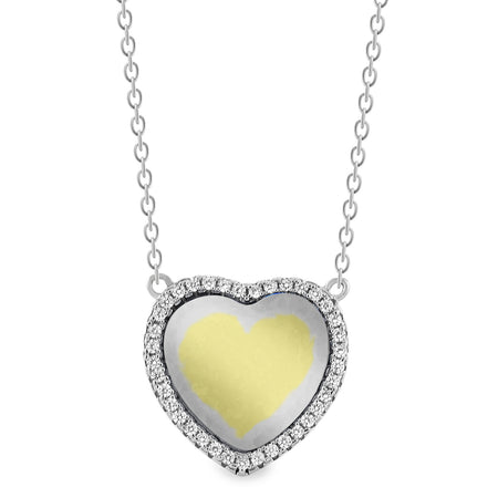 EWP150246MOP Silver Heart & MOP Necklace